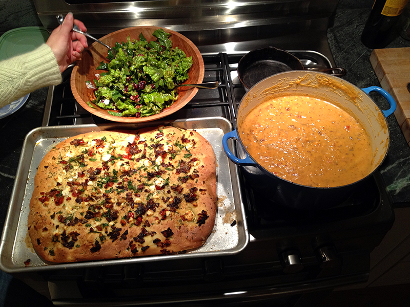 and sweet potato stew, goat cheese and caramelized onion focaccia ...